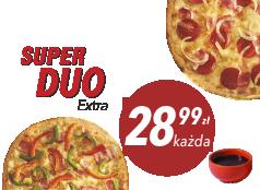 28,99 zł duża pizza do 4 skł. x 2 + sos Gratis!