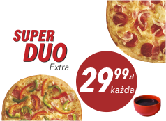 29,99 zł duża pizza do 4 skł. x 2 + sos Gratis!