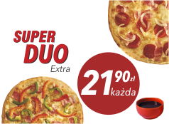 21,90zł Średnia pizza do 4 skł.  x 2 + sos Gratis