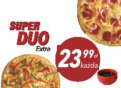 23,99zł średnia pizza do 4 skł. x 2 + sos Gratis!