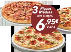 3 pizzas médias (até 5 ingr)