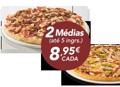 2 pizzas médias (até 5 ing)