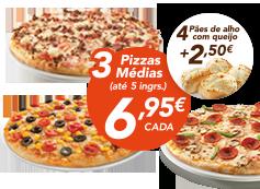 3 pizzas médias (até 5 ing) + 4 pães de alho com queijo