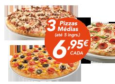 3 pizzas médias (até 5 ing)