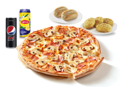 2 Pães Alho Simples ou 4 Bites Camembert + 1 Pizza Média (até 4 ing.) + 2 Bebidas