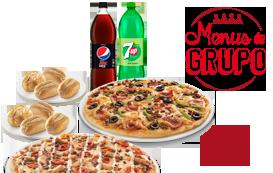 8 Pães Alho Simples + 2 Pizzas Familiares (até 4 ing.) + 2 Bebidas