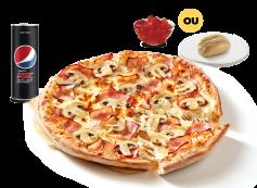 Pizza Individual (2 ing.) + Bebida + Pão Alho Simples ou Gelatina